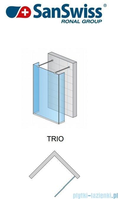 SanSwiss Pur Trio Ścianka stała 90-160cm profil chrom szkło Efekt lustrzany TRIOSM21053