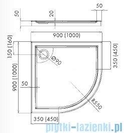 Schedpol Axel brodzik półokrągły z klapką odpływu 90x90x5cm R55 3.4215