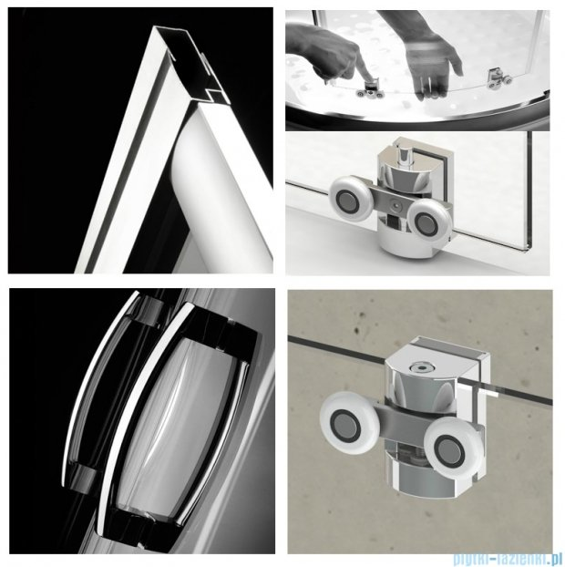 Radaway Premium Plus E Kabina półokrągła z drzwiami przesuwnymi 100x80x190cm szkło brązowe 30491-01-08N