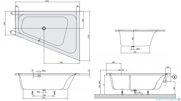 Villeroy&Boch Loop & Friends Square 175x135 wanna asymetryczna Prawa UBA175LFS9REV-01