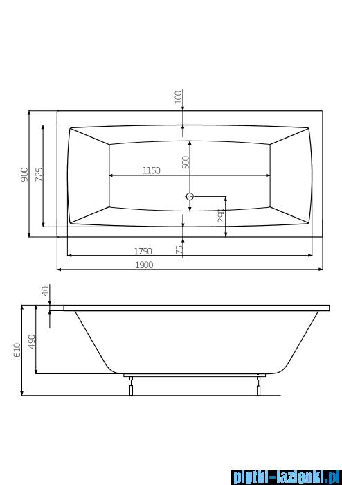 Roca Vita wanna prostokątna 190x90 cm akrylowa A24T090000