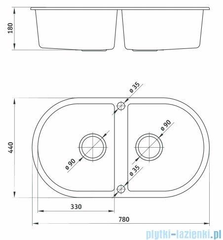 Deante Piva Zlewozmywak 2-komorowy okrągły bez ociekacza kolor piaskowy ZQI 720B