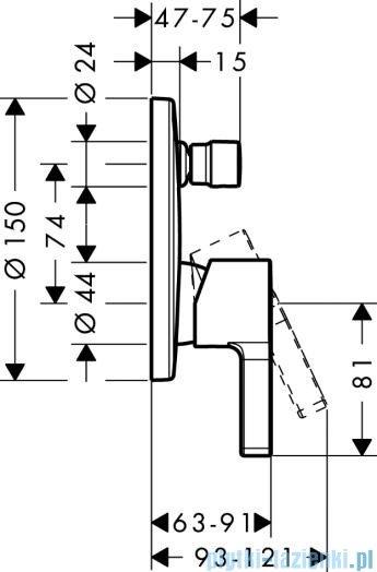 Hansgrohe Metris S Jednouchwytowa bateria wannowa montaż podtynkowy 31465000