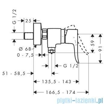 Hansgrohe Metris Jednouchwytowa bateria prysznicowa DN15 montaż natynkowy 31680000