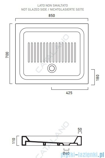 Catalano Base brodzik 85x70x11 cm ceramiczny biały 1708500