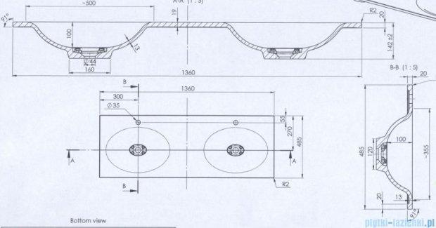 Antado umywalka dolomitowa podwójna 136x48,5 UMMO-1360-03D