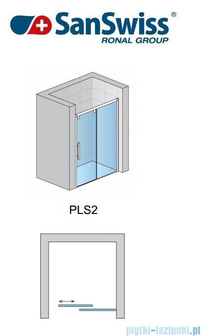 SanSwiss Pur Light S PLS2 Drzwi rozsuwane 120cm profil biały szkło satyna Prawe PLS2D1200449