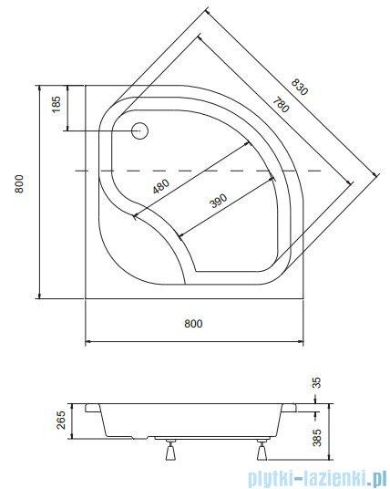 Sea Horse Sigma zestaw kabina natryskowa półokrągła niska 80x80cm bluszcz+brodzik BKZ1/3/KA3/