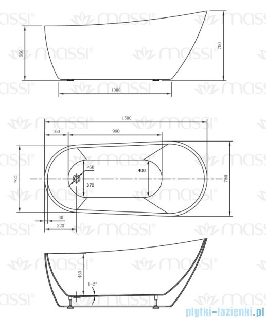 Massi Bellis 150 wanna wolnostojąca 150x70cm biała MSWA-6522