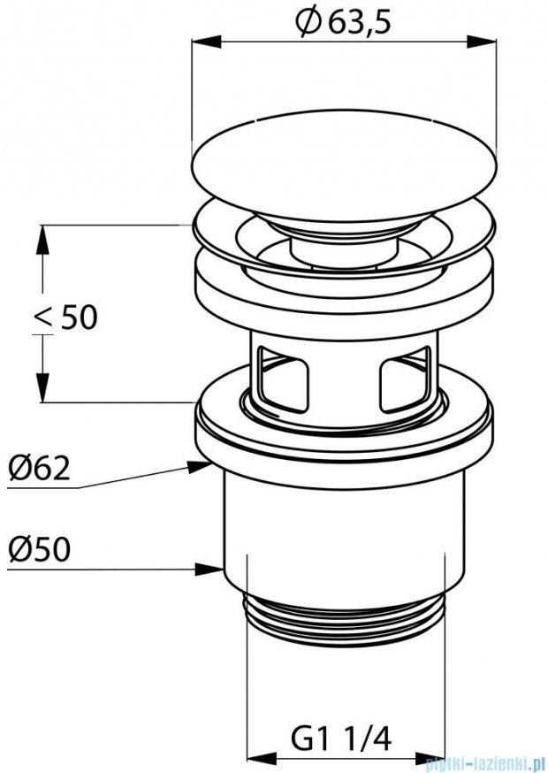 Kludi Balance Zamykany zawór spustowy G 1 1/4 do umywalek z przelewem chrom 104240500
