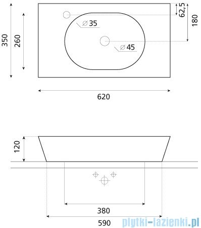 Bathco umywalka nablatowa Rimini 62x35 cm 0025