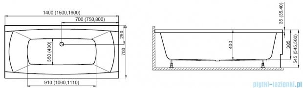 Polimat Capri New wanna prostokątna 140x70 cm 00359