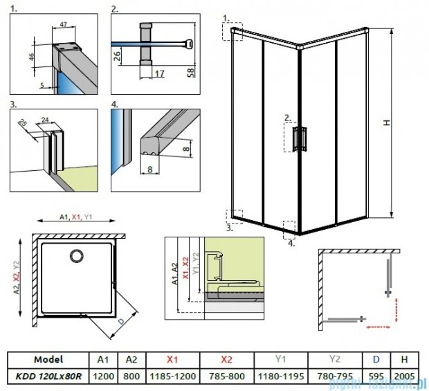 Radaway Idea Kdd kabina 120x80cm szkło przejrzyste 387064-01-01L/387061-01-01R