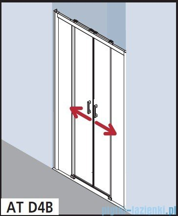 Kermi Atea Drzwi przesuwne bez progu, 4-częściowe, szkło przezroczyste, profile srebrne 130x200 ATD4B13020VAK