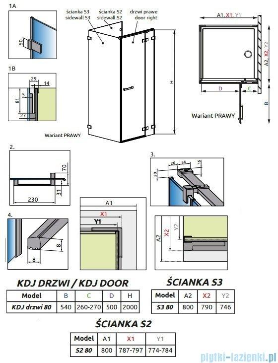 Radaway Euphoria KDJ P Kabina przyścienna 80x80x80 prawa szkło przejrzyste + brodzik Delos C + syfon 383043-01R/383031-01/383038-01/SDC0808-01