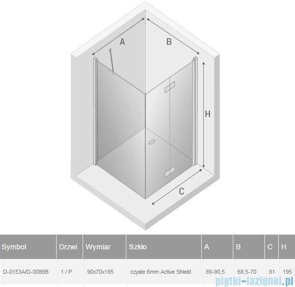 New Trendy New Soleo 90x70x195 cm kabina prawa przejrzyste D-0153A/D-0086B