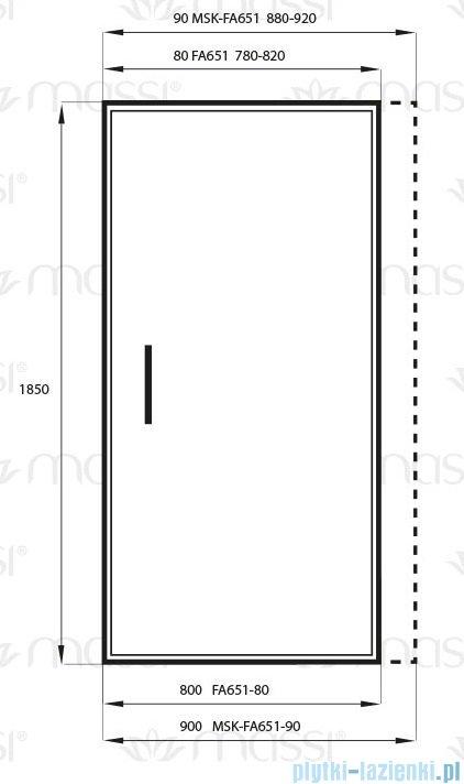 Massi Glasso drzwi prysznicowe 80x185 cm przejrzyste FA651-80