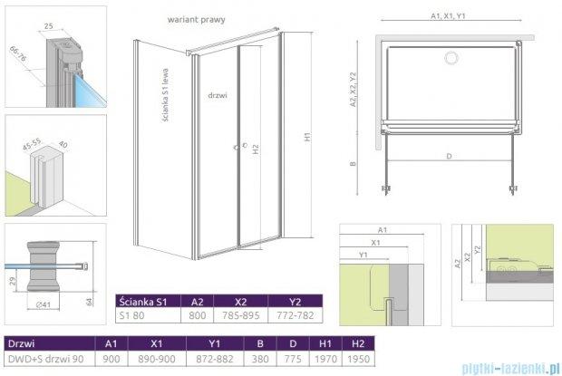 Radaway Eos II DWD+S kabina 90x80 prawa szkło przejrzyste 3799491-01/3799410-01L
