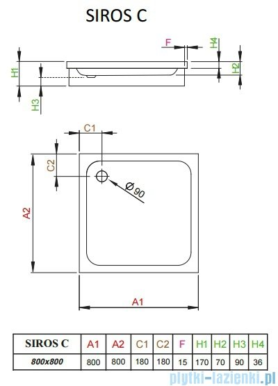 Radaway Brodzik kwadratowy Siros C 80x80 na podstawie styropianowej SBC8817-1