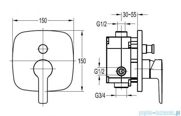 Omnires Hudson bateria wannowo-natryskowa podtynkowa z przełącznikem chrom HS4135