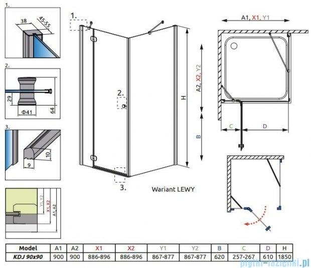 Radaway Torrenta Kdj kabina kwadratowa 90x90 lewa szkło grafitowe 32202-01-05NL