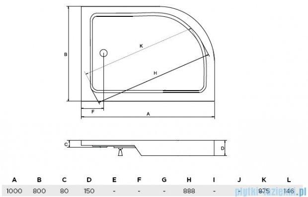 Piramida Saturn brodzik asymetryczny zintegrowany lewy 100x80cm #BAS-100-NL
