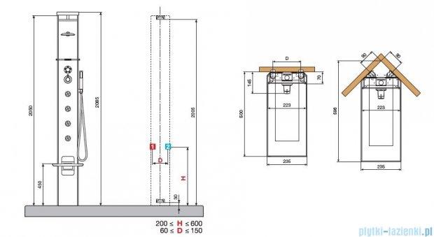 Novellini Aqua 1 Cascata 3 panel prysznicowy czarny bateria termostatyczna CASC3VT-H