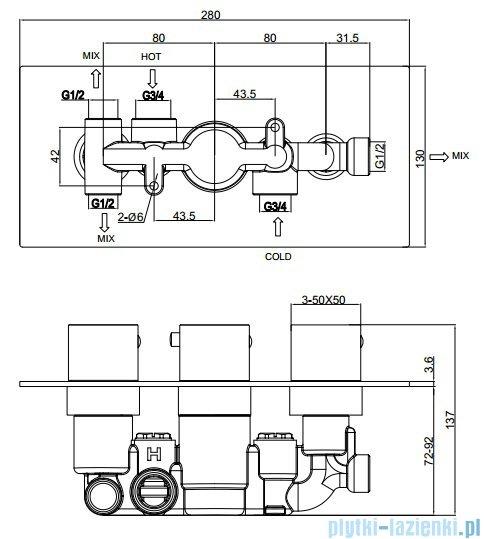 Omnires Fresh bateria podtynkowa 3-wyjściowa chrom FR7138/6