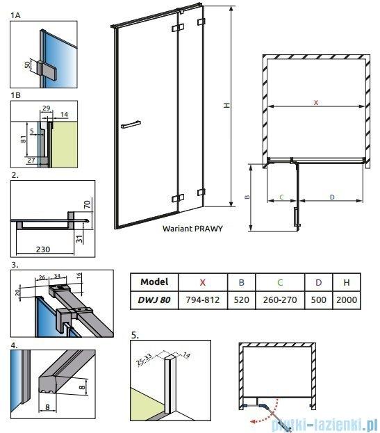Radaway Euphoria DWJ Drzwi wnękowe 80 prawe szkło przejrzyste 383012-01R