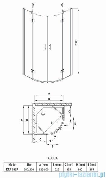 Deante Abelia kabina półokrągła czteroszybowa przejrzysta 90x90x200 cm KTA 053P