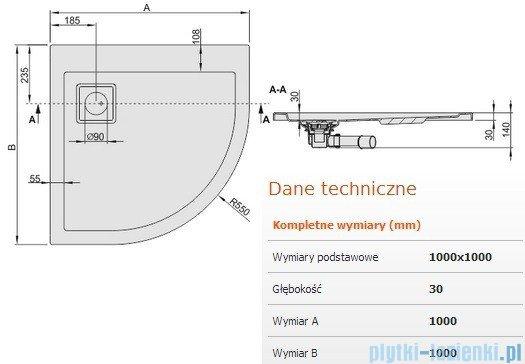 Sanplast Brodzik półokrągły Space Line 100x100x3cm + syfon 615-110-0340-01-000