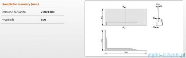 Sanplast Free Line obudowa do wanny prawa OWPLP/FREE 70x130cm biała 620-040-0030-01-000