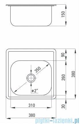 Deante Techno zlewozmywak 1-komorowy bez ociekacza 38x38 cm satyna ZMU 0100