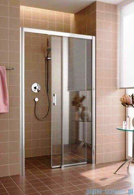 Kermi Atea Drzwi przesuwne bez progu, prawe, szkło przezroczyste, profile białe 160x185 ATD2R160182AK
