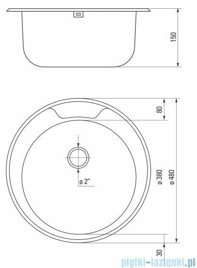 Deante Twist zlewozmywak 1-komorowy okrągły bez ociekacza satyna ZEU 0810