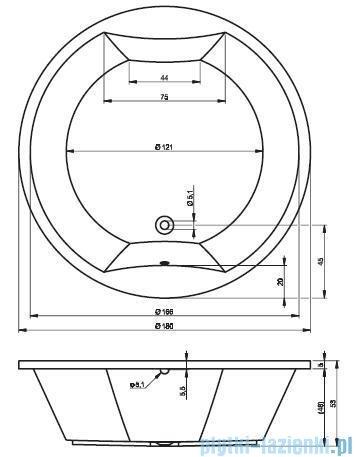 Riho Colorado wanna okrągła 180cm nóżki+stelaż+syfon BB02/14/AMC70