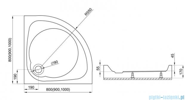 Polimat Nowy styl 1 brodzik półokrągły kompaktowy 100x100x17 cm 00628
