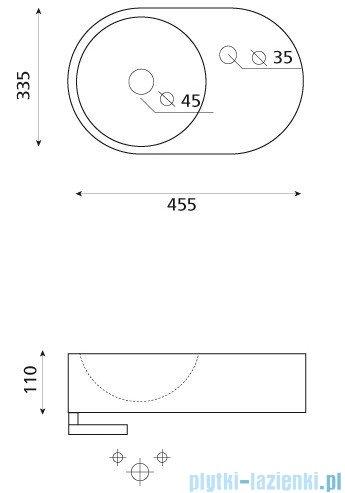 Bathco umywalka podwieszana z relingiem Benalmadena 45,5x33,5 cm 4904
