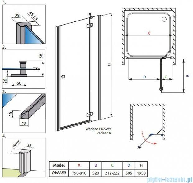 Radaway Almatea DWJ Drzwi wnękowe 80 Prawe szkło grafitowe + Brodzik Delos C 80 + syfon 30902-01-05N