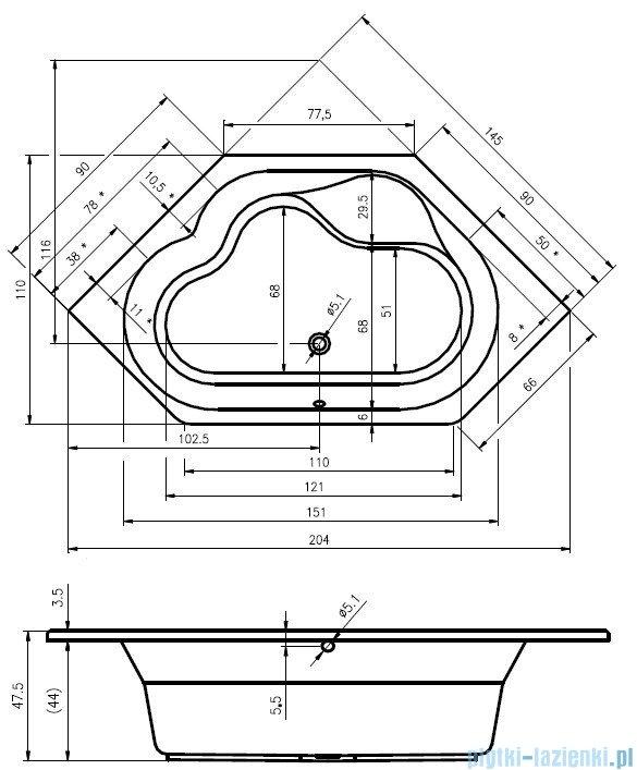 Riho Winnipeg wanna symetryczna 145x145 z hydromasażem TOP Hydro 6+4+2/Aero11 BA48T5