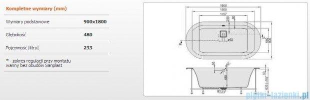 Sanplast Space Line Wanna owalna+stelaż+adapter z pokrywką WOW/SPACE 180x90+SP, 610-100-0860-01-000