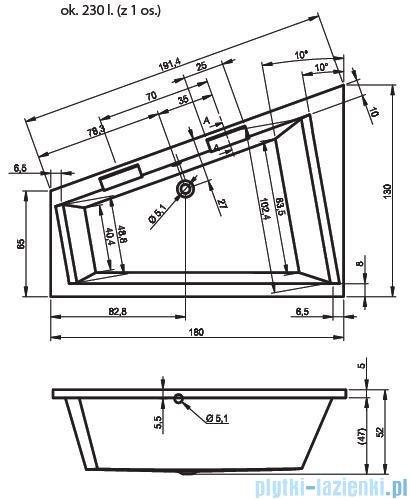 Riho Doppio wanna narożna 180x130cm prawa nogi+syfon BA90/09/AMC55