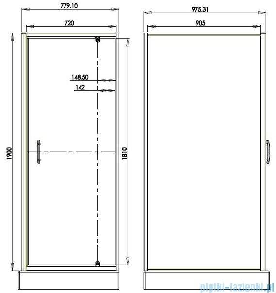 Omnires S kabina prostokątna 80x100x190cm szkło brązowe S-80/100KBR