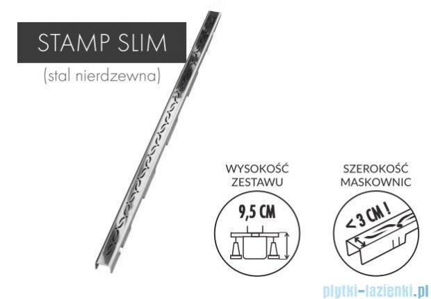 Schedpol Slim Lux odpływ liniowy z maskownicą Stamp Slim 80x3,5x9,5cm OLSP80/SLX