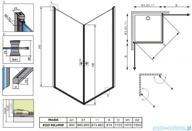 Radaway Eos KDD kabina prysznicowa 90x90 szkło przejrzyste 37203-01-01N