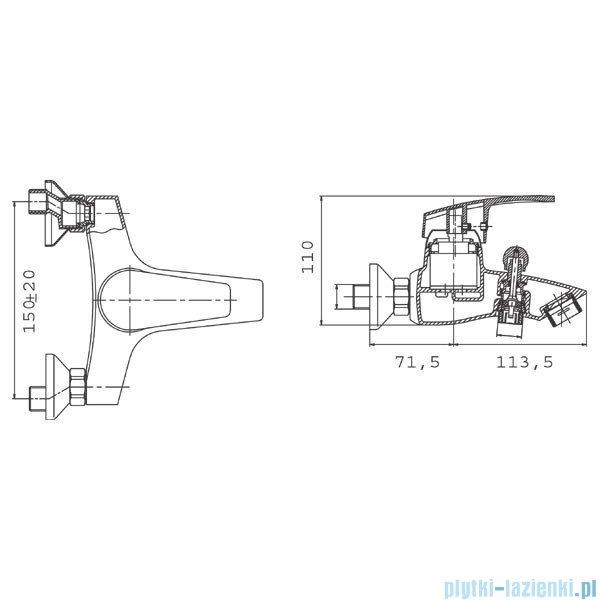 Ferro Capri Bateria wannowo-prysznicowa ścienna chrom BTC1