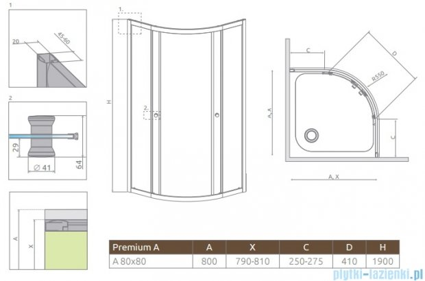 Radaway Premium A Kabina półokrągła 80x80 szkło brązowe 30413-01-08