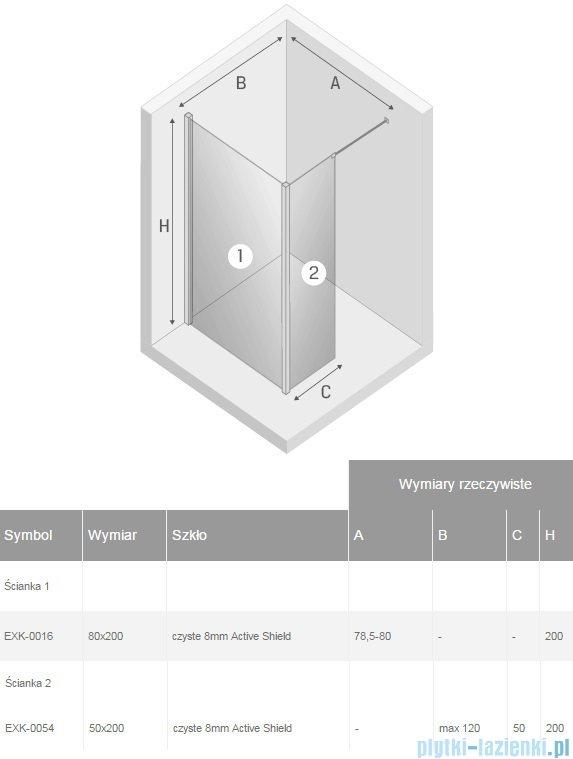 New Trendy New Modus kabina Walk-In 80x50x200 cm przejrzyste EXK-0016/EXK-0054