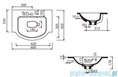 Marmorin Emma 600 umywalka nablatowa 60x45 z przelewem z otworem na baterie biała 639060020211