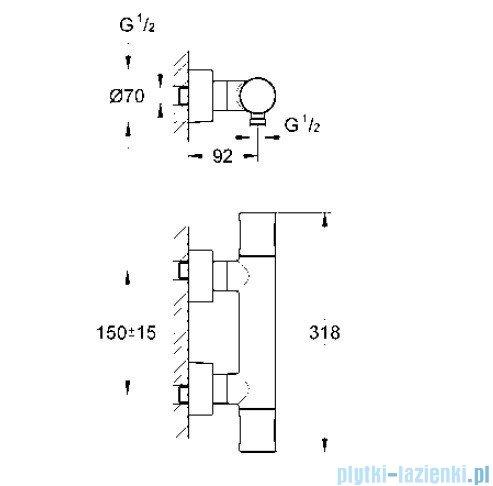Grohe Grohtherm 3000 Cosmopolitan bateria prysznicowa z termostatem DN 15 34274000